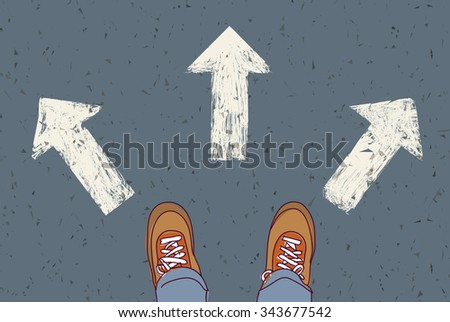 Choice way road decision alternative solution. Man standing on the road. Color vector illustration. EPS8
