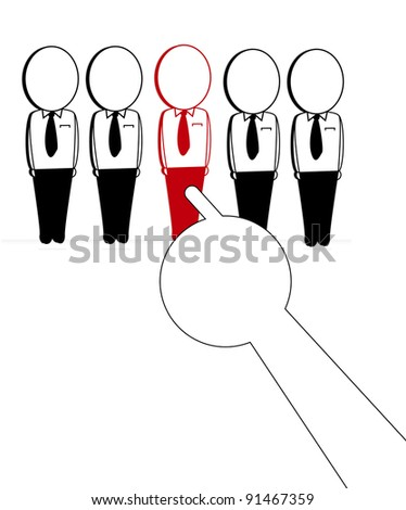 choice would be the leader through the hands that refers to a person - stock vector