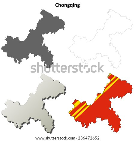 Chongqing blank outline map set - stock vector