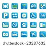 Choose from a variety of vector hotel amenities icons in blue color. - stock photo