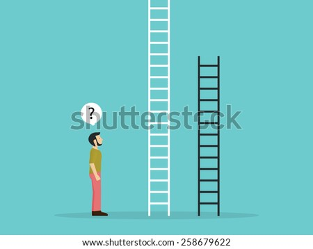Choose the fixed ladder  - stock vector
