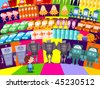 Choosing a new toy in the supermarket - vector - stock vector