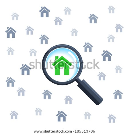 Choosing home with magnifying glass - stock vector