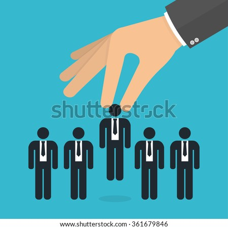Choosing the best candidate concept for the job concept. Hand picking up a businessman stick figure from the row. Flat design - stock vector