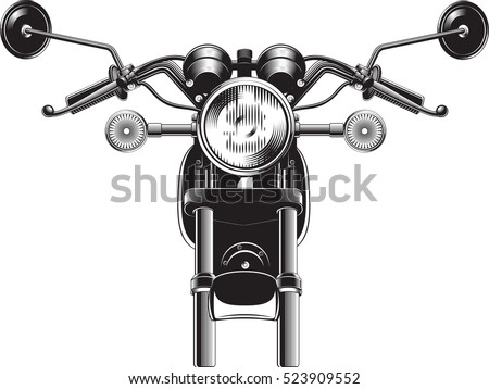Motorcycle front on spark plug drawing
