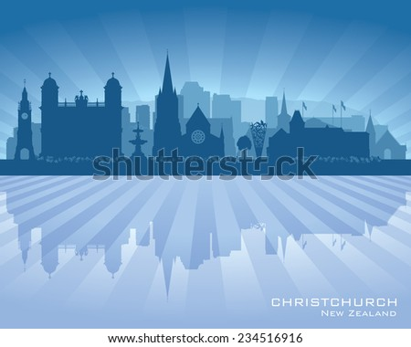 Christchurch New Zealand city skyline vector silhouette illustration - stock vector