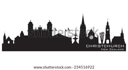 Christchurch New Zealand skyline Detailed vector silhouette - stock vector