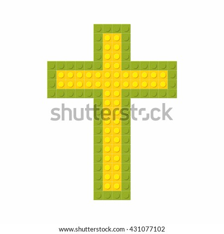 Christian art. Colorful interlocking plastic bricks, plastic construction. Cross of Jesus.