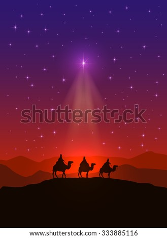 Christian background with Christmas star and three wise men, illustration. - stock vector