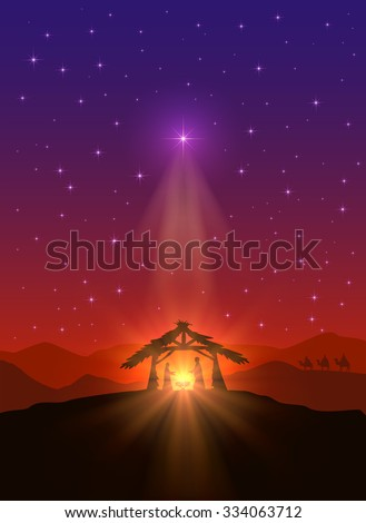 Christian background with Christmas star, birth of Jesus and three wise men, illustration. - stock vector
