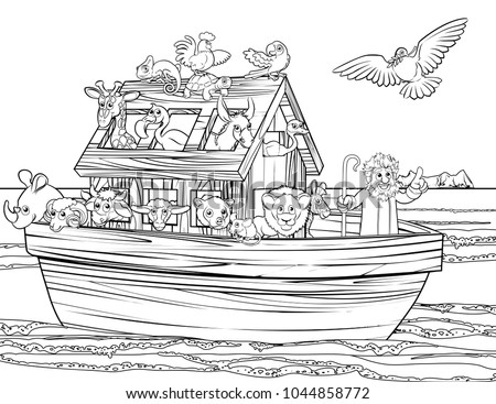 Christian Bible Story Of Noah S Ark With A White Dove Returning Olive Branch