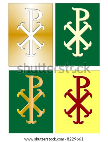 Christian Chi Rho symbol (for Christ) in different colors - stock vector