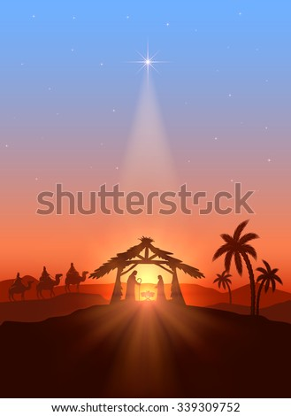 Christian Christmas background with shining star, birth of Jesus, illustration. - stock vector