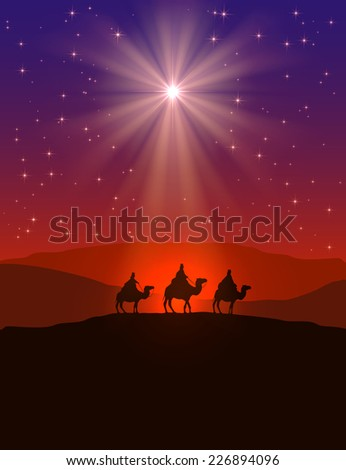 Christian Christmas background with shining star on night sky and three wise men, illustration. - stock vector