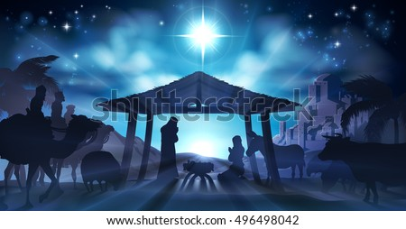 Christian Christmas Nativity Scene of baby Jesus in the manger with Mary and Joseph in silhouette surrounded by animals and the three wise men magi with the city of Bethlehem in the distance