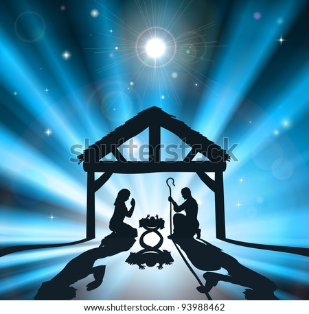 Christian Christmas nativity scene of baby Jesus in the manger with the virgin Mary and Joseph - stock vector