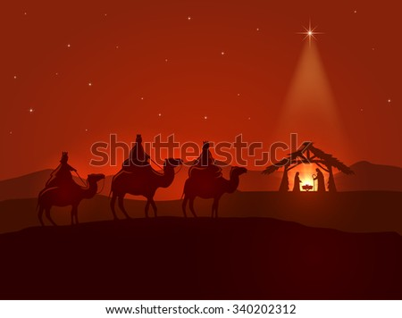 Christian Christmas night, shining star, three wise men and the birth of Jesus, illustration. - stock vector