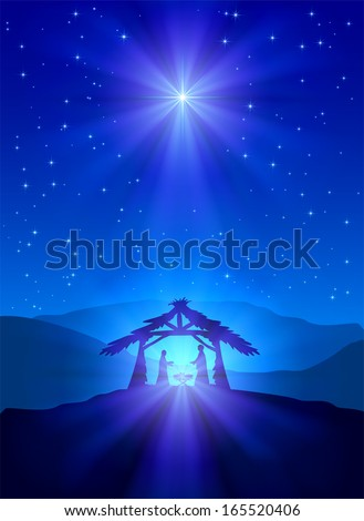 Christian Christmas night with shining star and Jesus, illustration. - stock vector