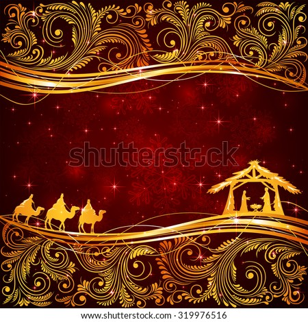 Christian Christmas scene with golden floral elements on red background, illustration - stock vector