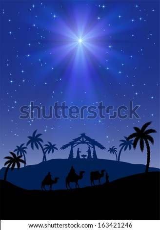 Christian Christmas scene with shining star, illustration. - stock vector