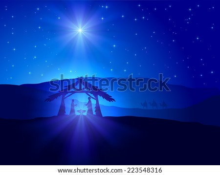 Christian Christmas scene with shining star on blue sky and birth of Jesus, illustration. - stock vector