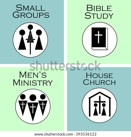 Christian Church logos with icons in black - stock vector