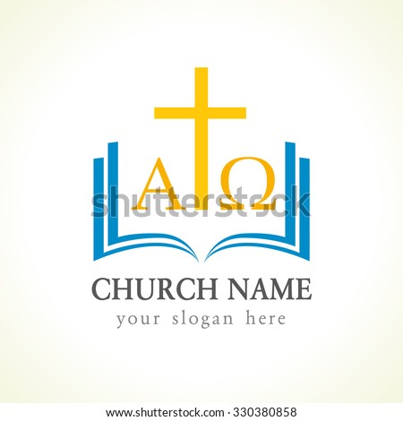 Christian Church Vector Logotype Gold Crucifixion Stock Photo Photo