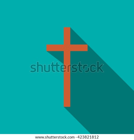 Christian cross icon in flat style - stock vector