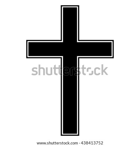 Christian cross icon , isolated cross symbol , black and white vector illustration
