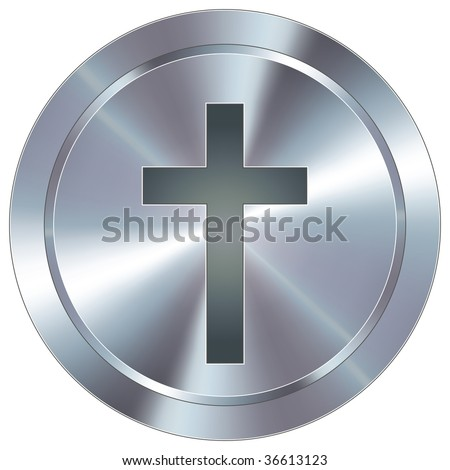 Christian cross icon on round stainless steel modern industrial button - stock vector