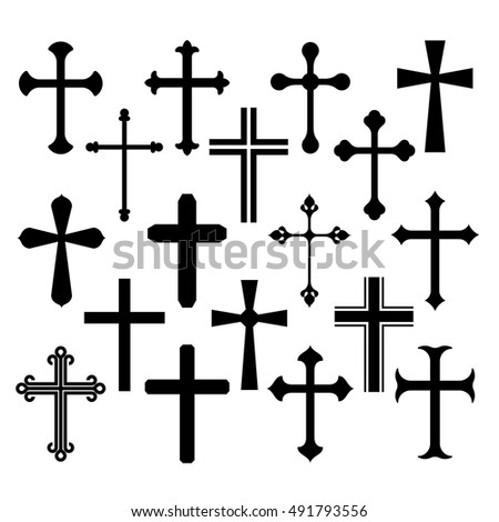 Christian cross icons set on white background