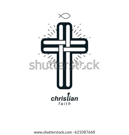 Christian Cross True Belief Vector Religion Stock Vector 621087668