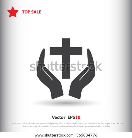 Christian cross with hand icon - stock vector