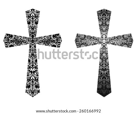 Christian crosses (black and white) - stock vector