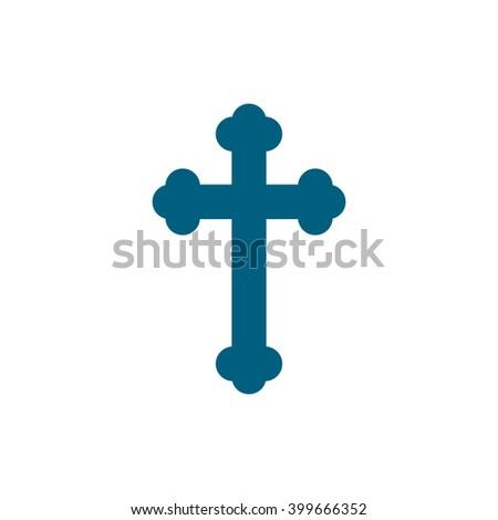 Christian crucifix cross. Vector icon blue  - stock vector