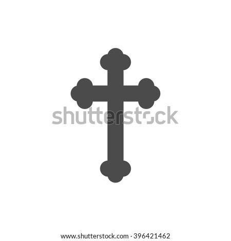 Christian crucifix cross. Vector icon grey  - stock vector