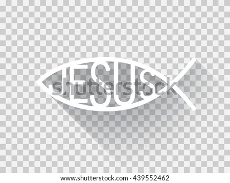 Christian fish symbol in a flat design, Jesus fish illustration, light version,  light checkered background. - stock vector - stock vector