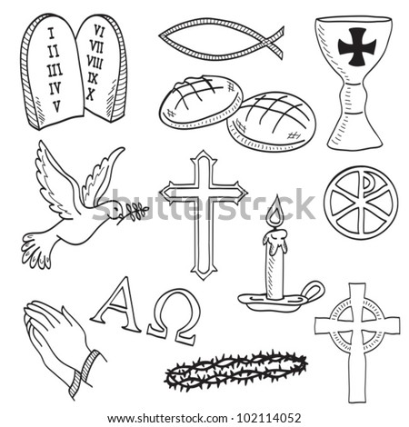 Christian hand-drawn symbols illustration - cross, hands, fish, chalice, bread, dove, candle, crown of thorns - stock vector