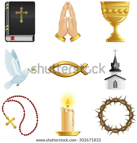 Christian icon set. Vector illustration. - stock vector