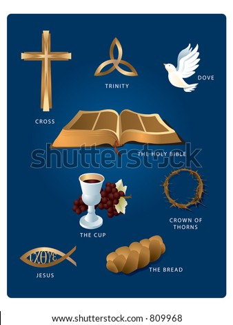 Christian icons: Cross, Dove, Bible, Wine, Bread, Fish, Trinity and Crown of Thorns. - stock vector