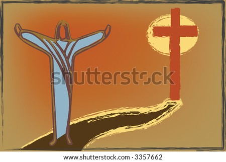 Christian illustration showing the path from the cross in this vector design. - stock vector