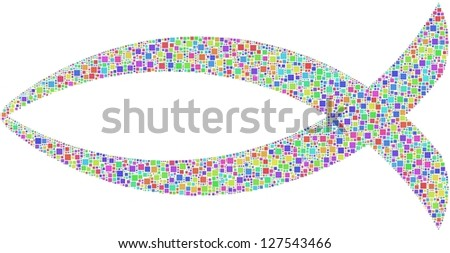 Christian Jesus fish in a mosaic of harlequin squares - stock vector