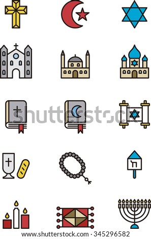 CHRISTIAN, JEWISH & MUSLIM RELIGION set of outline icons - stock vector