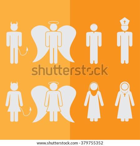 Christian Religion Culture Tradition Figure Pictogram Icon Set - stock vector
