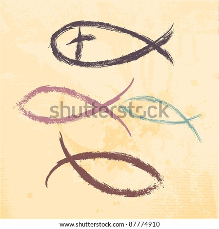 Christian religion symbol fish created - stock vector