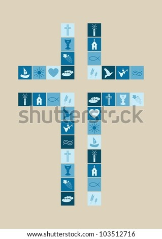 Christian religion symbols boy - stock vector