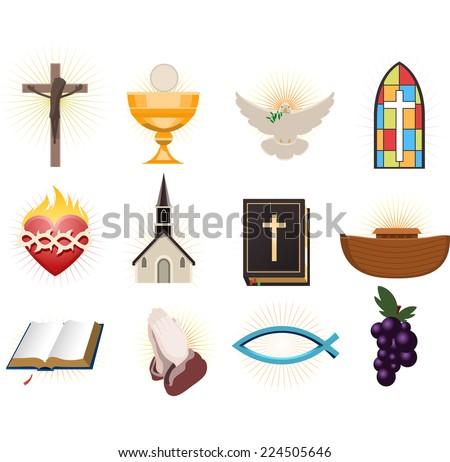 Christianity design elements. - stock vector