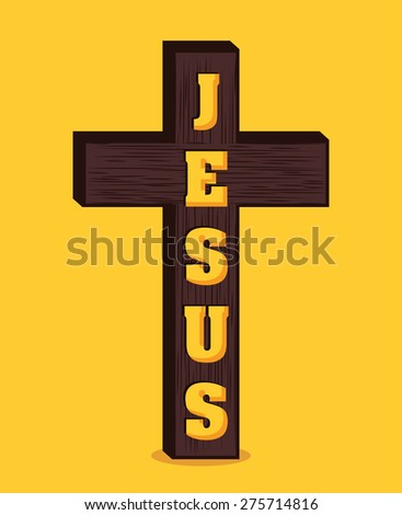 Christianity design over yellow background, vector illustration. - stock vector