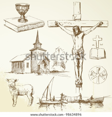 christianity-hand drawn collection - stock vector