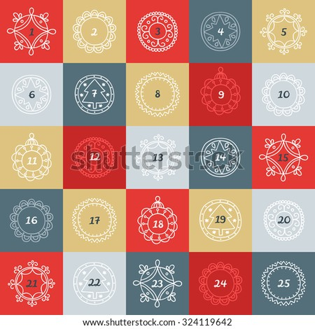 Christmas Advent Calendar. Colorful boxes with frames in linear style.  - stock vector